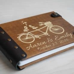 Gästebuch Hochzeit aus Holz mit Gravur - Fahrrad