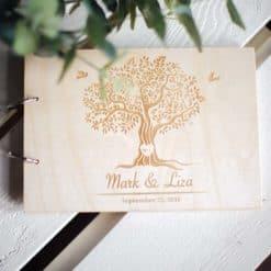 Gästebuch Hochzeit aus Holz mit Gravur - Hochzeitsbaum