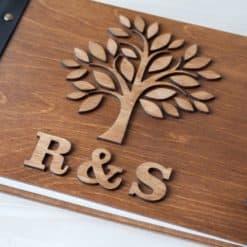 Gästebuch Hochzeit aus Holz mit Gravur - 3D Baum