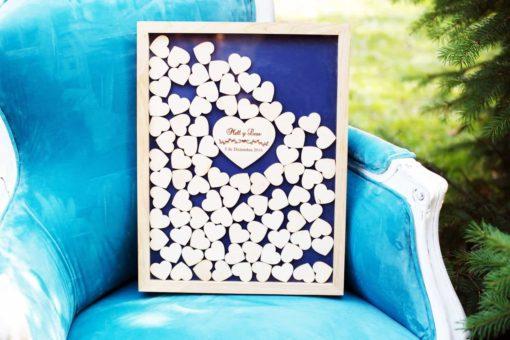 Gästebuch zur Hochzeit als Bilderrahmen mit 3D-Herzen - Natur