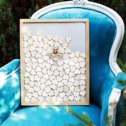 Gästebuch zur Hochzeit als Bilderrahmen mit 3D-Herzen - Eulen
