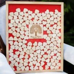 Gästebuch zur Hochzeit als Bilderrahmen mit 3D-Herzen - Baum