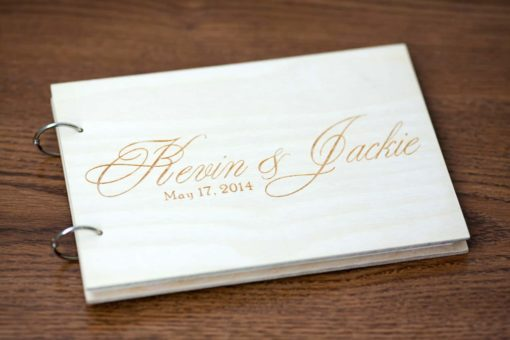 Gästebuch Hochzeit aus Holz mit Gravur - Klassik hell