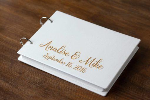 Gästebuch Hochzeit aus Holz mit Gravur - Weiß-Gold