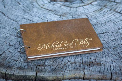 Gästebuch Hochzeit aus Holz mit Gravur - Gold Rustikal