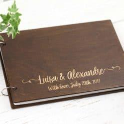Gästebuch Hochzeit aus Holz mit Gravur - Vintage