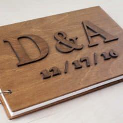 Gästebuch Hochzeit aus Holz mit Gravur - Letter Vintage