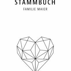 Stammbuch aus Holz mit Gravur - Modernes Herz