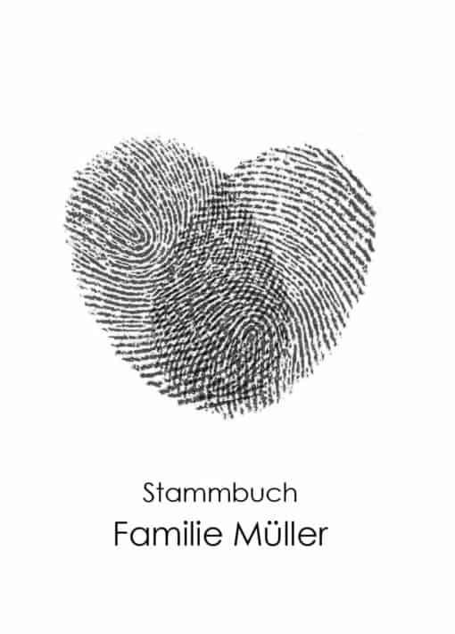 Stammbuch aus Holz mit Gravur - Fingerabdruck Herz